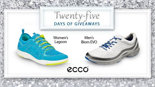 We're 2 weeks into our #25DaysofGiveaways contest!  We love Ecco because for over 50 years they have found ways to make lighter, more flexible and stronger shoes. Try them for yourselves by entering to win here.
