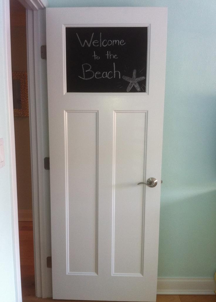 Chalk board paint on a bedroom door