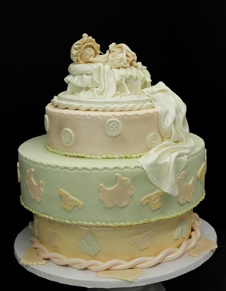 elegant baby shower cake with beautiful custom made decoration