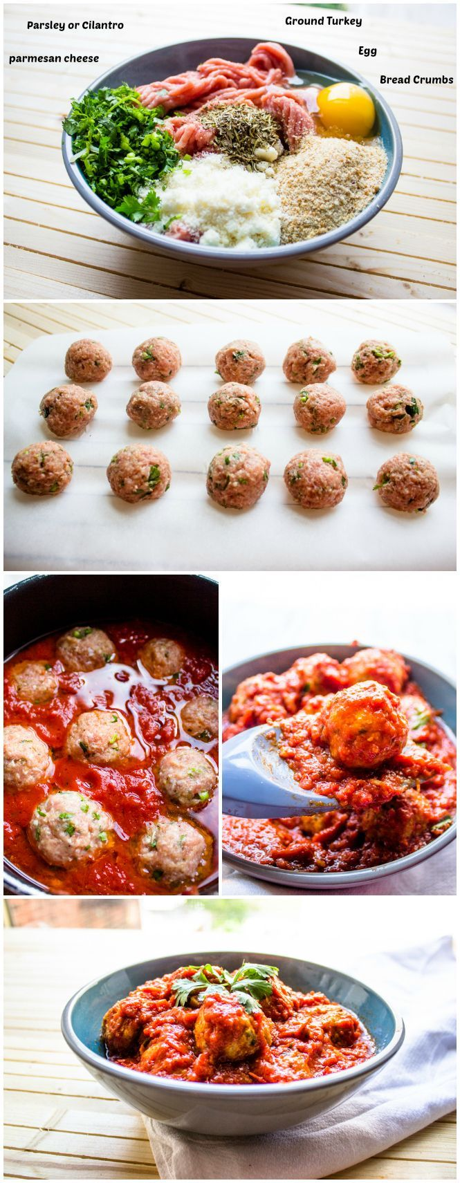Quick and Easy Turkey Meatballs in Tomato Sauce. Made this for dinner ...