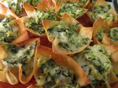 Spinach Artichoke Wonton Cups | foods to make | Pinterest
