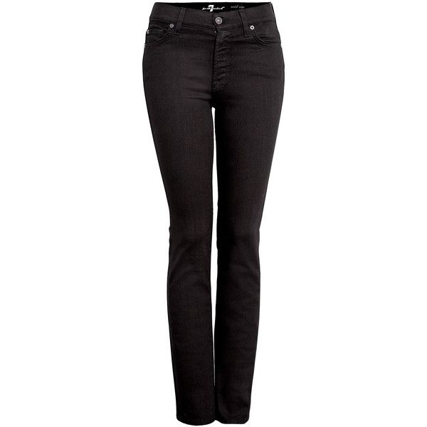 7 For All Mankind Mid Rise Roxanne Black Skinny Jean found on Polyvore