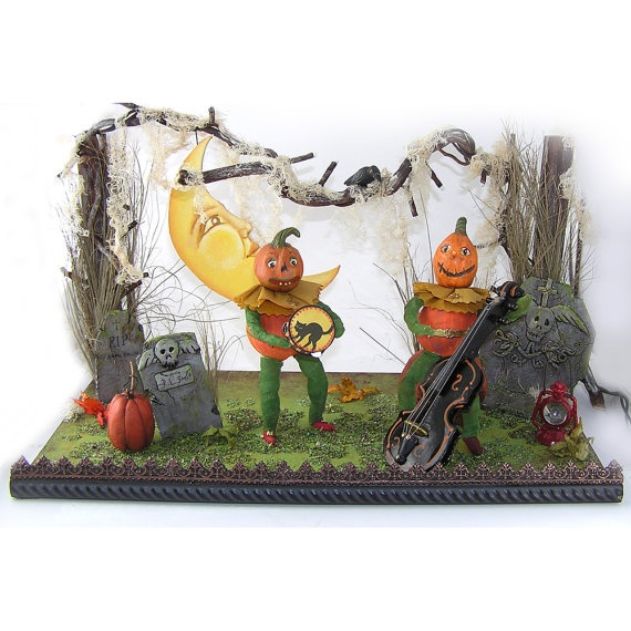 Celebrate Halloween Paper Mache Jack & Veggie by ivascreations, $145.00