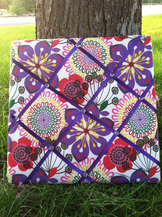 Purple flower power memory board from Welk Home Designs.  Great for the office, bedroom, kitchen, home office, dorm room, and just about anywhere. Beautiful and functional home decor!