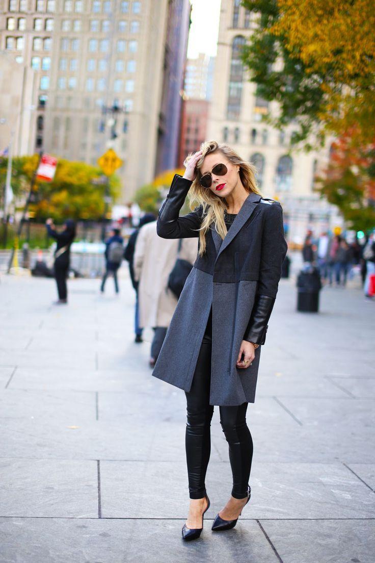 Slim. Fit. Great Coat. Black & Grey. Layers. Leather. Lack. Sun