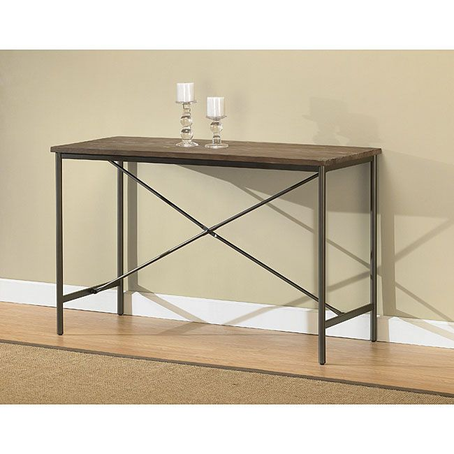 This elements sofa table has a weathered grey oak finish this table