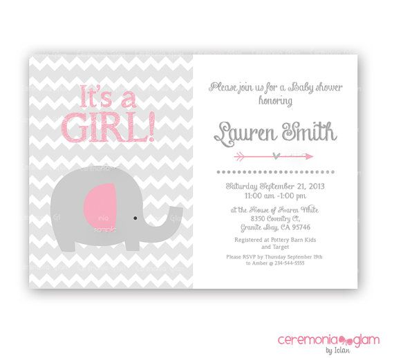 baby shower girl elephant invitation arrow pink and grey chevron