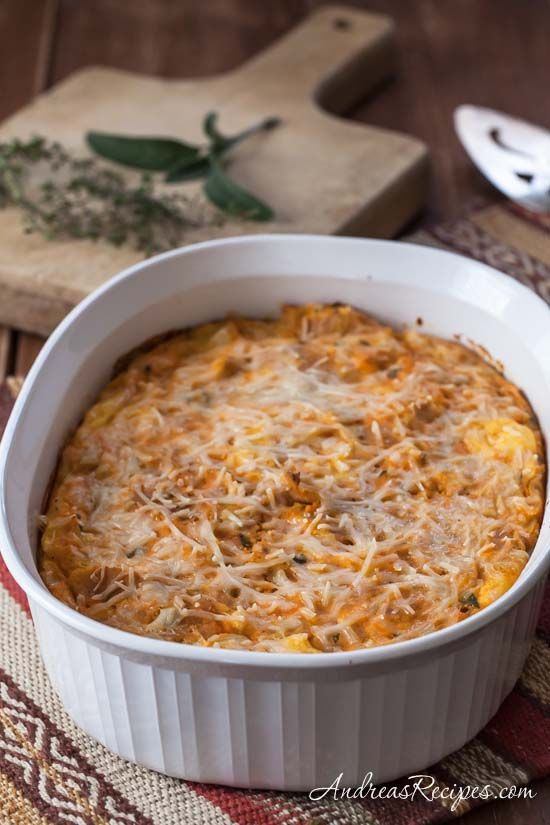 Butternut Squash and Parmesan Bread Pudding, adapted from a classic ...