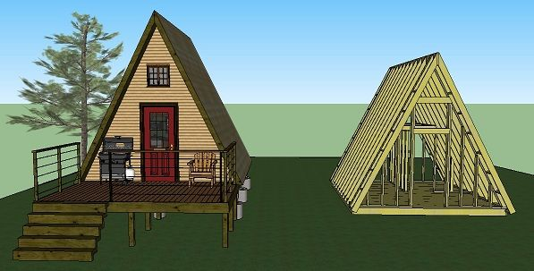 Pin by s w v a u g h n on tiny house utility pinterest for Free a frame cabin plans