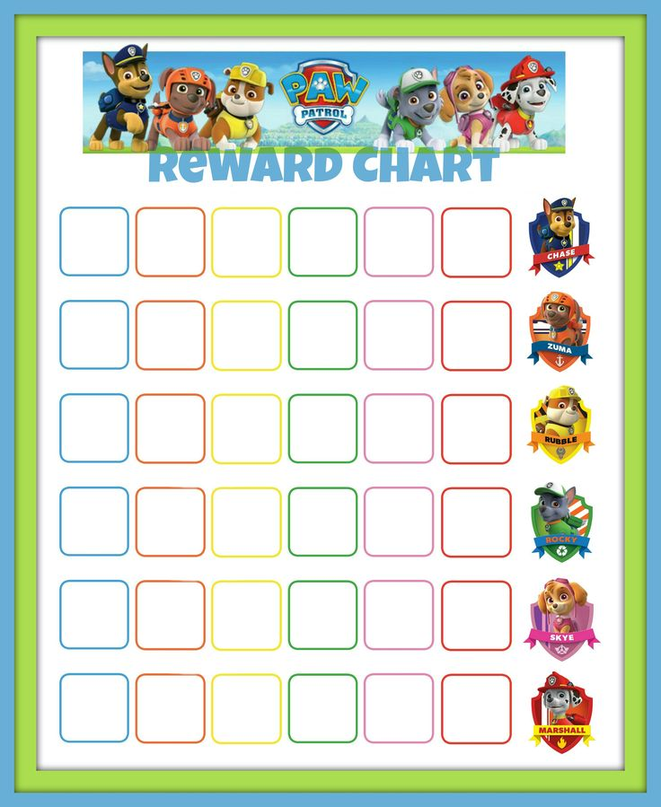 Paw patrol reward chart might try to get jack to sleep on his