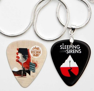 Sleeping with Sirens Two Sided Guitar Pick Silver Necklace Plus Pick | eBay