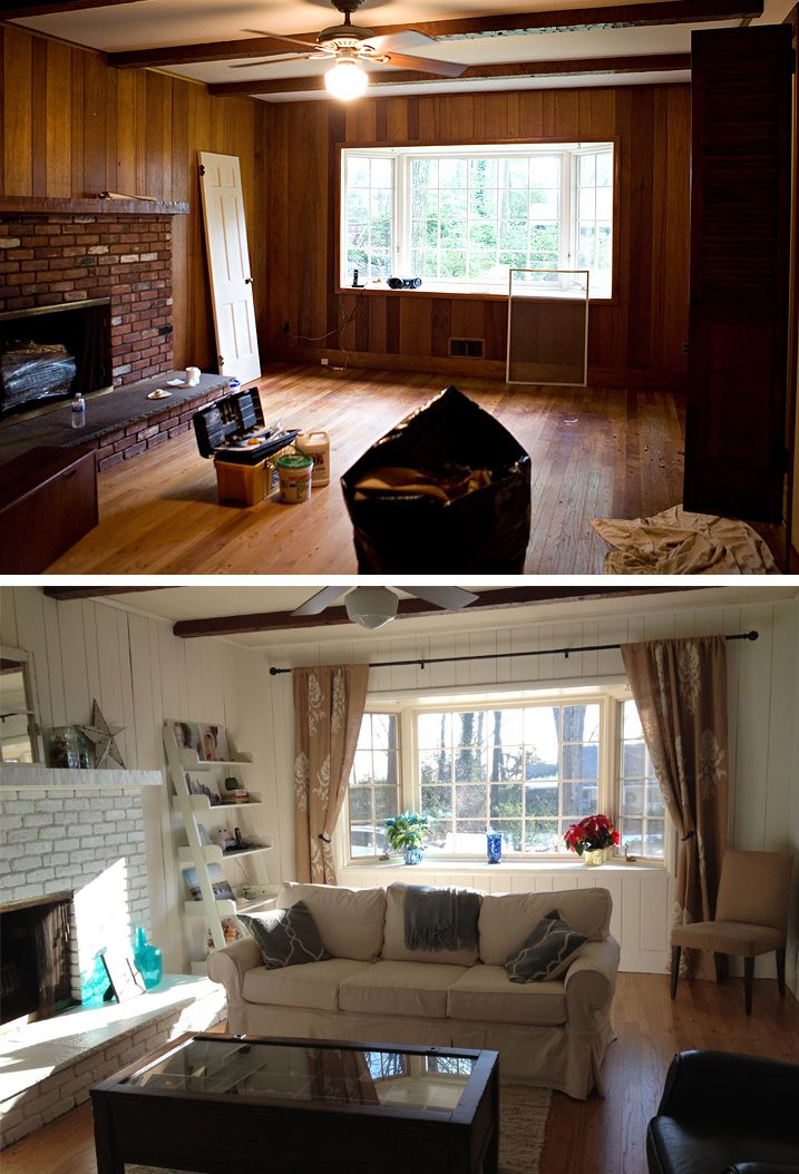 My friend 39 s house family room before after beachy Painting paneling in basement
