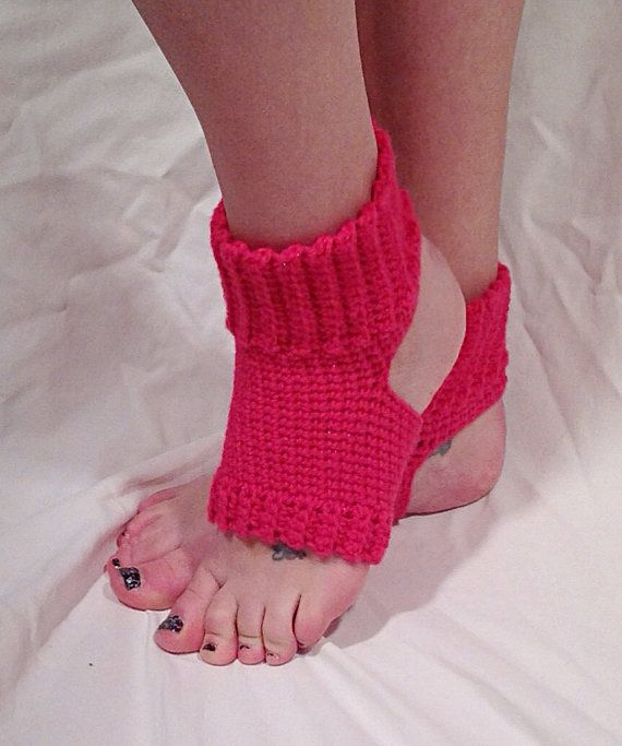 Crochet Yoga Socks : Pink Sparkle Crochet Yoga Socks by DapperCatDesigns on Etsy, $20.00