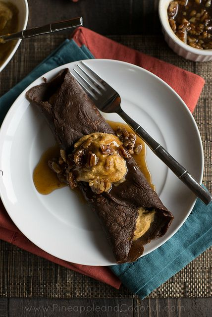 Chocolate Crepes with Spiced Pumpkin Butter and Maple Pecan Syrup via ...