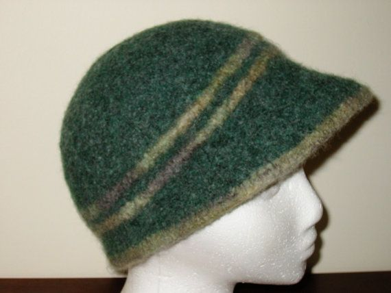 Felted Hat Knitting Pattern : Jaunty to Casual Cloche knit and felted hat pattern. A turn of the br?