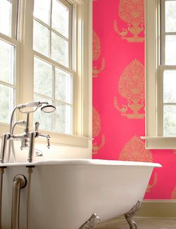 Pink and gold wallpaper, for one of the walls
