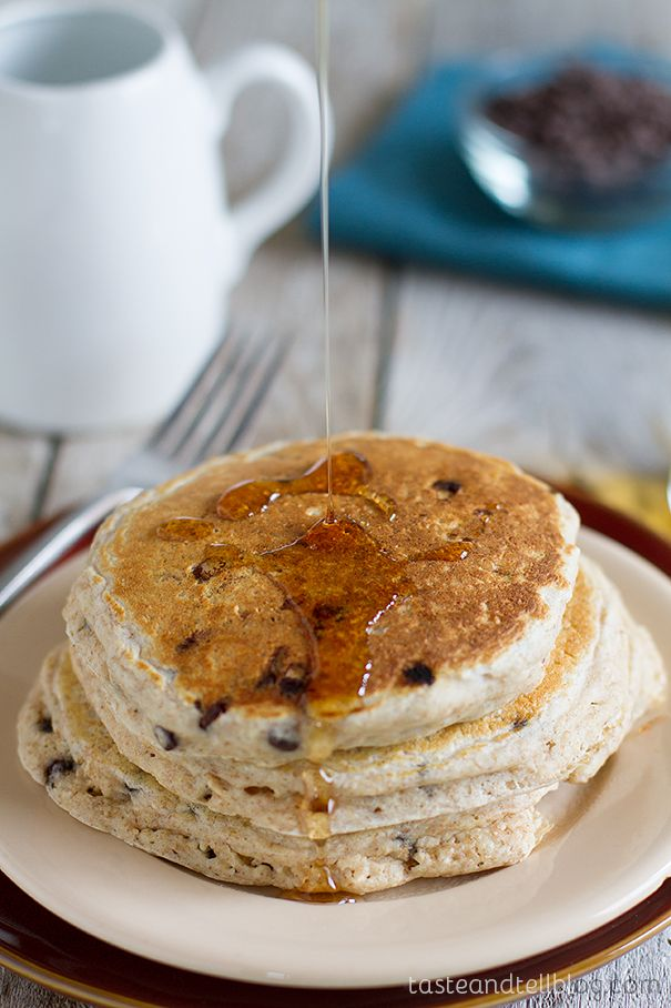 Whole Wheat Oatmeal Chocolate Chip Pancakes recipe on Taste and Tell
