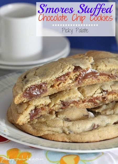 Smores Stuffed Chocolate Chip Cookies (Are you KIDDING me?! My 2 ...