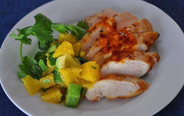 Grilled chicken w/ chipotle butter and orange-avocado salsa #dinner ...