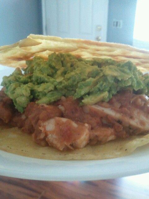 Chicken tortilla. Refried beans, salsa, and guac. Stir fried gf rice ...