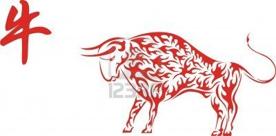 Red Chinese Ox with hieroglyph | Asian New Year crafts | Pinterest