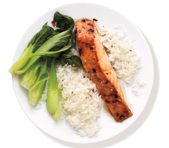 Bok Choy and Rice recipe: Baste the salmon with a mixture of honey ...