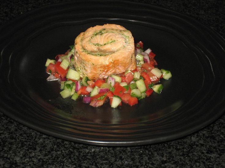 Salmon Roulade with Cilantro Pesto On a Bed of Gazpacho Salsa by Vicki ...