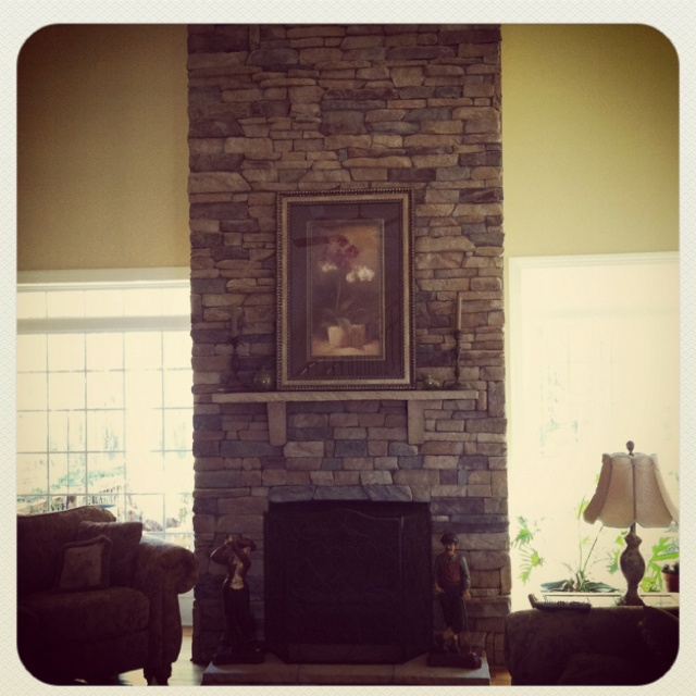 Floor to ceiling stacked stone fireplace for the home - Floor to ceiling fireplace ...