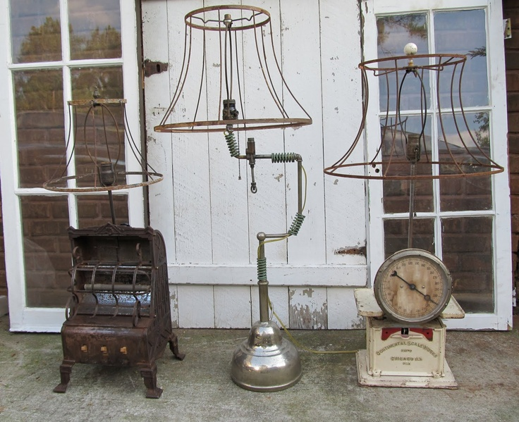 Rusty lamps made of junk