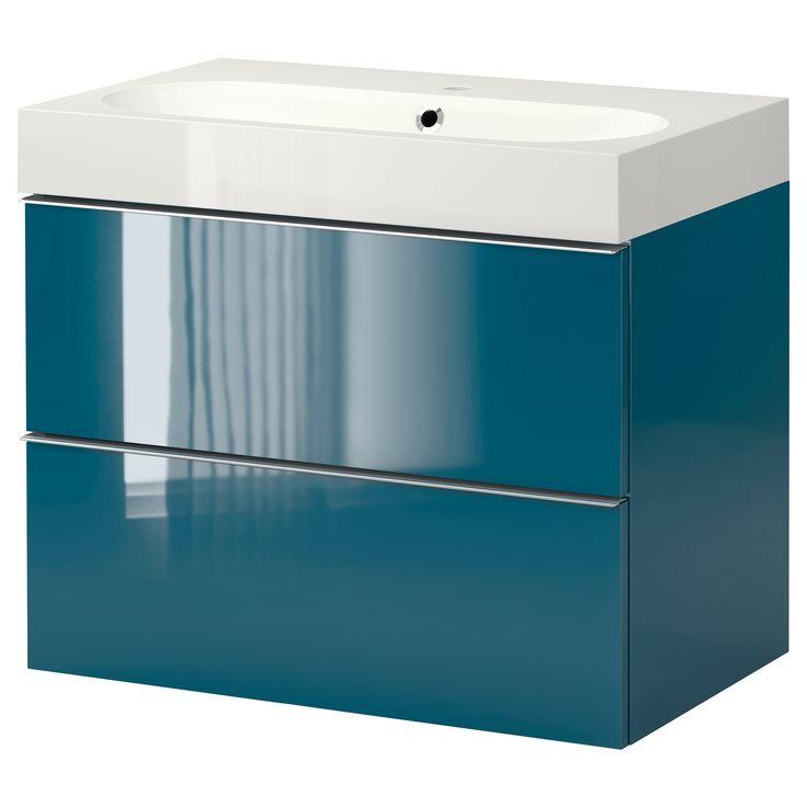 Ikea Badkamer Lavabo ~ GODMORGON BR?VIKEN Meuble lavabo 2tir  brillant turquoise  IKEA