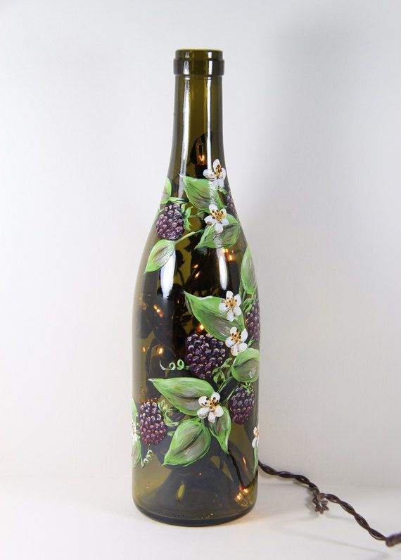 Hand painted wine bottle light with black berries accent for Painted wine bottles