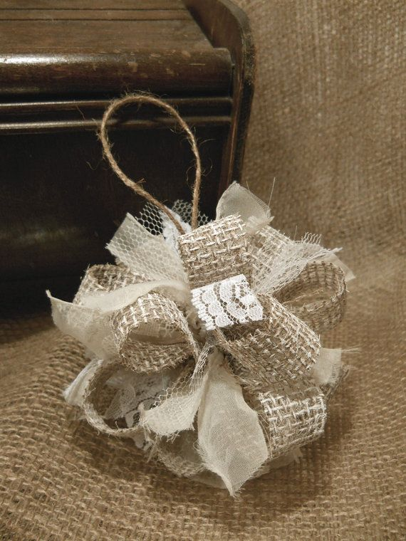 Burlap christmas ornament handmade of painted burlap lace for How to make burlap christmas decorations