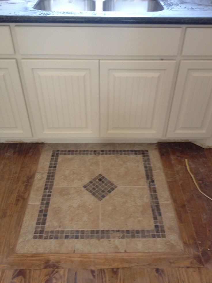 tile quot rug quot in front of kitchen sink kitchens dinning