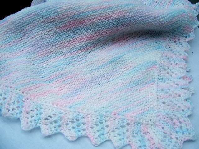 Easy Lace Baby Blanket Knitting Pattern : knit lace edging Knit Pinterest