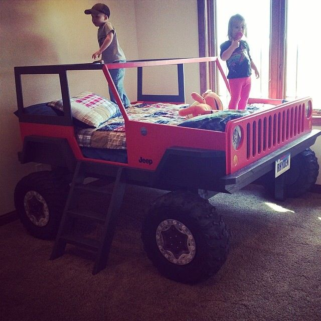 Red jeep bed kids jeep red boys ideas for pinterest - Jeep toddler bed plans ...