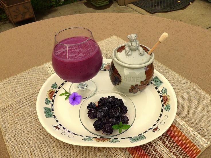 Blackberry Yogurt Smoothie ~ Home Grown Blackberries, Low-Fat Yogurt ...