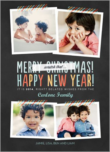 Fun Instagram-sized/Polaroid photo sizes Belated Wishes New Year's Card