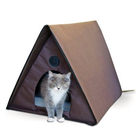 Amazon.com: K&H Manufacturing Outdoor Heated Kitty A-Frame Cat House ...