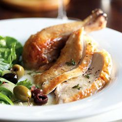 Roast Chicken with Mustard-Thyme Sauce and Green Salad with Olives ...