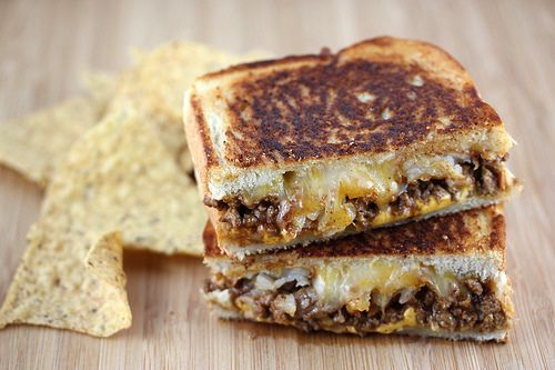 oh Lordy...Taco Grilled Cheese with taco meat, two different cheeses ...