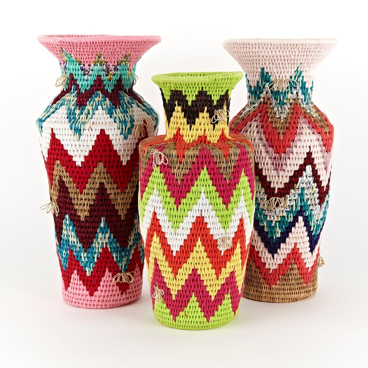 Swazi Fabric & Grass Vase