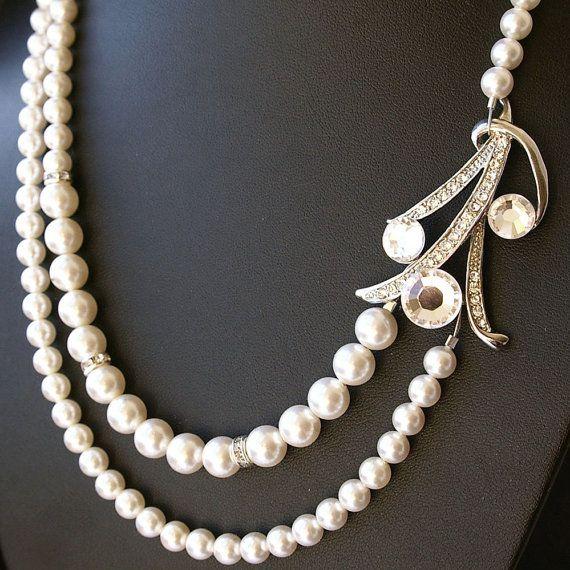 deco style bridal necklace wedding jewelry pearl bridal jewelry