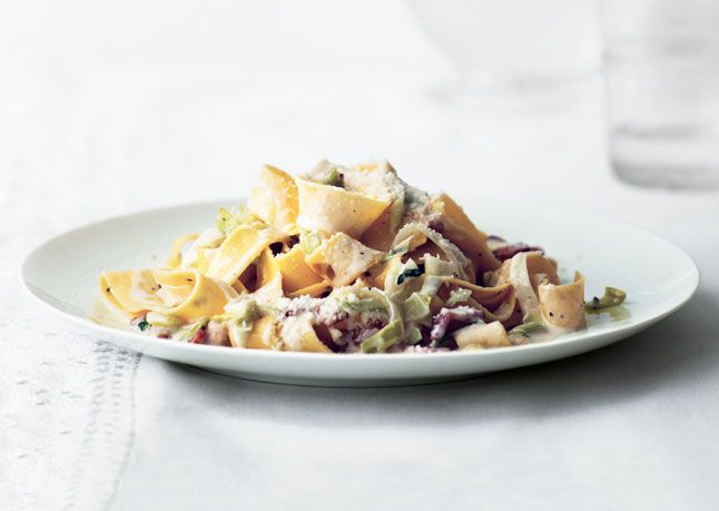 Leeks and Bacon -- This twist on pasta carbonara is sweet from leeks ...