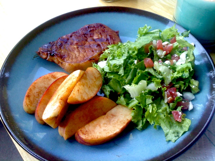 Pork Chop and Baked Apple Wedges: grill pork chops (marinated in a low ...
