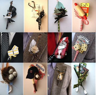 Creative Boutonnieres that reflect the bride and groom's interests. (guitar pick, dominoes, race car, sports)