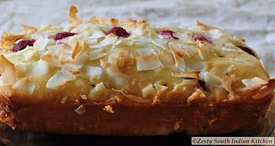 Raspberry Coconut White Chocolate Bread - Zesty South Indian Kitchen