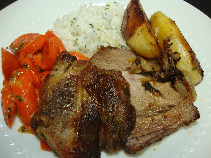 Pork Roast with Ginger-Apricot Glazed Carrots, Herbed Rice & Roasties.