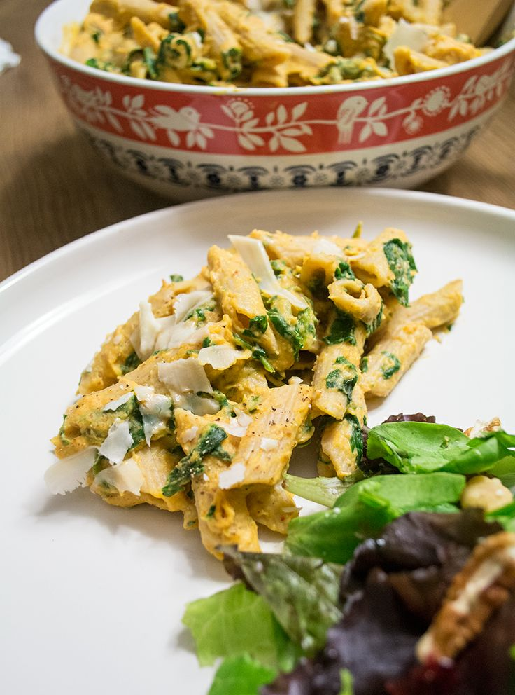 Chipotle Butternut Squash Sauce with Penne Pasta and Spinach | Lemons ...