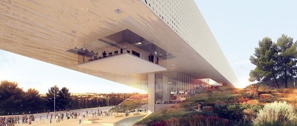 National Library of Israel, ODA Architecture, library design, public plaza, monolith architecture