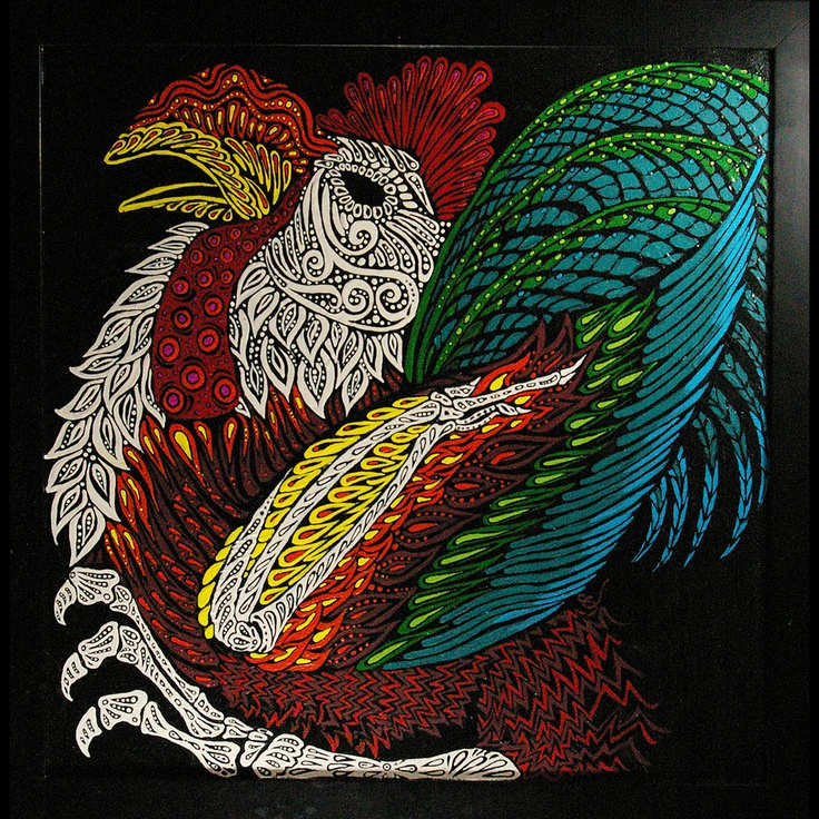 GettingFrankDone, Day of the Dead, Rooster, Acrylic Painting
